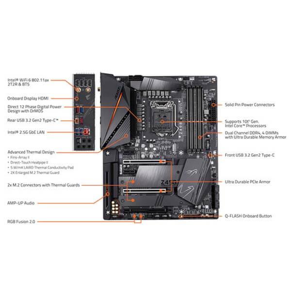 قیمت خرید مادربرد گيگابايت مدل Aorus Z490 Pro AX Gaming