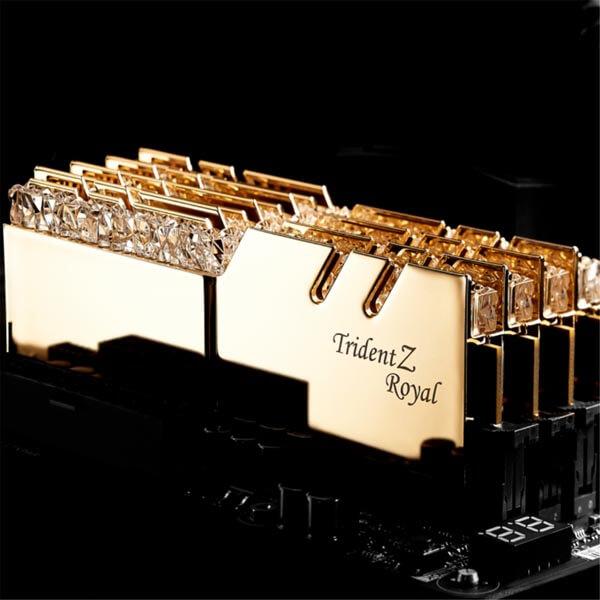 قیمت خرید رم کامپیوتر جی اسکیل 2×8=16 گیگابایت ddr4 فرکانس 3000 مدل Trident Z Royal Gold